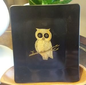 Vintage MCM Couroc Black and Gold Owl Tray